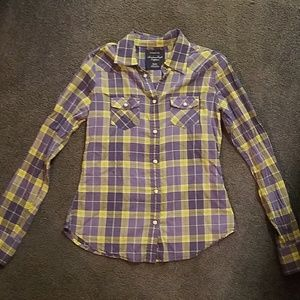 American Eagle purple & yellow button down